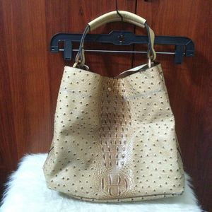 Faux crocodile embossed leather tote